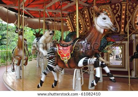 Reindeer circus - stock photo