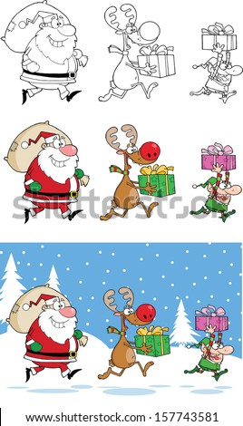Reindeer, Elf  And Santa Claus Carrying Christmas Presents. Raster Collection Set - stock photo