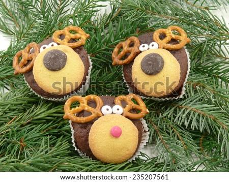 reindeer muffins - stock photo