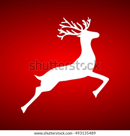 Reindeer on red background