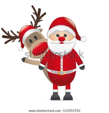 reindeer red nose behind santa claus - stock photo