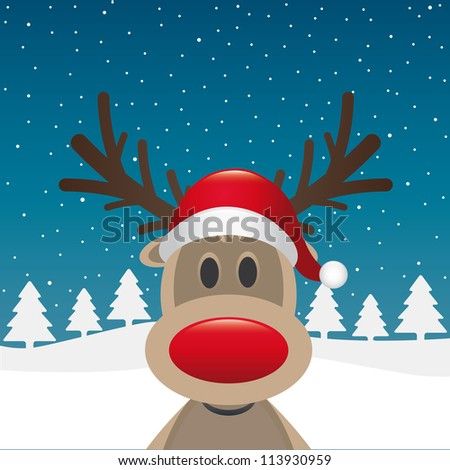 reindeer red nose santa claus hat - stock photo