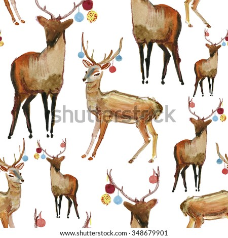 reindeer seamless watercolor background. - stock photo