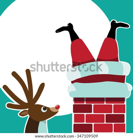 Reindeer sees Santa Claus stuck in the chimney background. Space for your message in the moon.  - stock photo