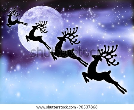 Reindeer silhouette at night sky, Santa's deer flying high up next glowing stars background and moon, magic abstract fantasy, Christmastime winter holidays fairytale - stock photo