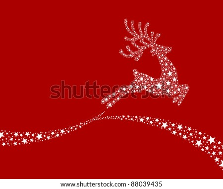 reindeer white from stars flying on background - stock photo