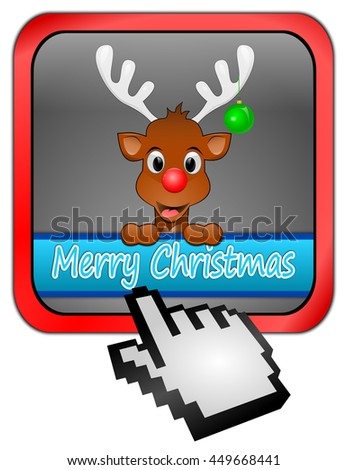 Reindeer wishing Merry Christmas Button - 3D illustration - stock photo