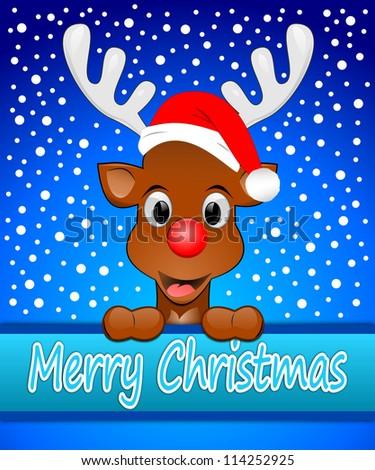 Reindeer with santa hat wishing Merry Christmas - stock photo