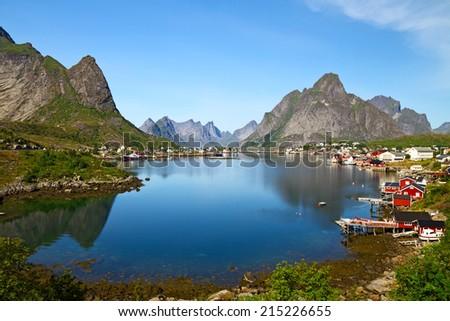 Reine is a fishing village in the Lofoten archipelago, Norway. - stock photo