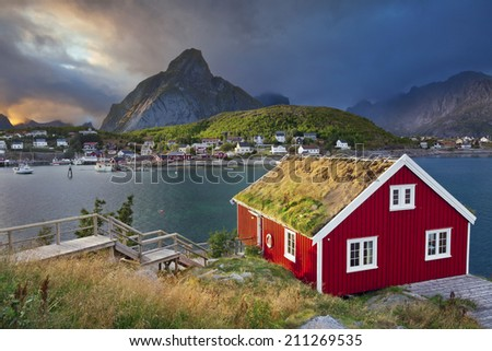 Reine, Norway. Image of fishing village Reine on Lofoten Islands in  Norway. - stock photo