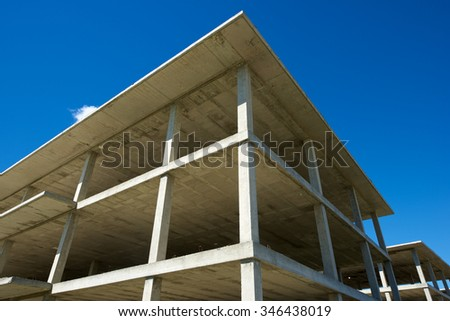 Reinforced concrete slabs of a residential building under construction. - stock photo