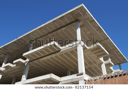 reinforced concrete slabs of a residential building under construction - stock photo