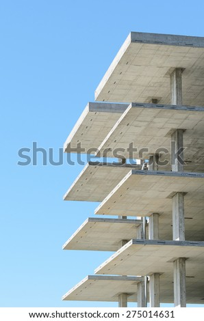 reinforced concrete structure with blue sky - stock photo