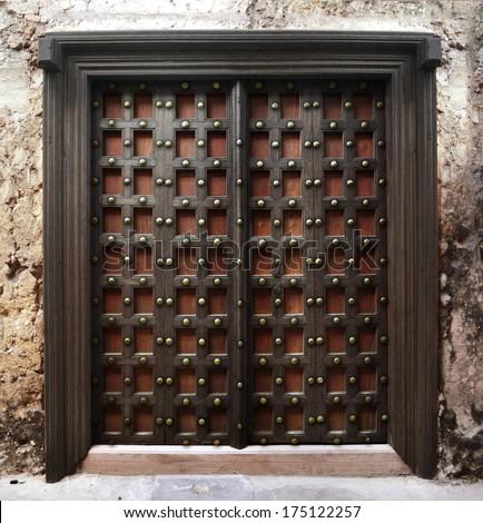 Reinforced wooden Zanzibar door & Reinforced Wooden Zanzibar Door Stock Photo (100% Legal Protection ...