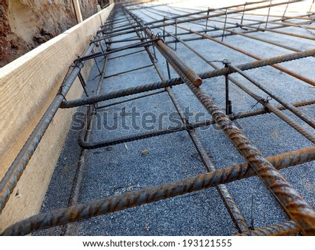reinforcement mesh and rods of table prepared for concrete