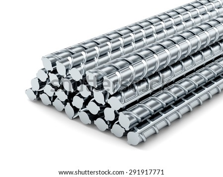 Reinforcing steel bars. Building armature on white background. - stock photo