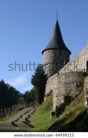 Reinhardstein castle in Belgium Ardennes - stock photo