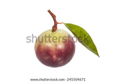 reip star apple fruit with leaf isolated on white - stock photo