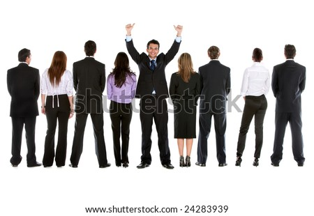 Reir view of a business group of people with a businessman facing the camera - isolated - stock photo