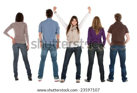 Reir view of a casual group of people with a girl facing the camera - isolated - stock photo