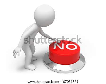 reject/A man is pushing the button - stock photo