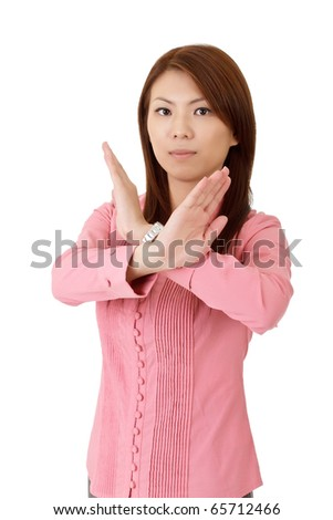 Reject gesture showing by young business woman of Asian.