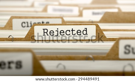 Rejected Concept. Word on Folder Register of Card Index. Selective Focus.