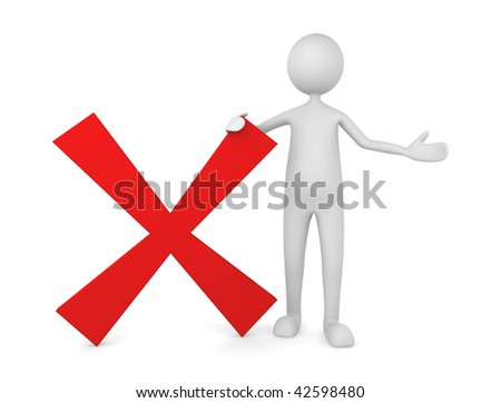 Rejected 3D. Rejected, declined, canceled concept, depicting 3D man next to red X mark - stock photo