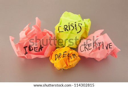 Rejected idea crisis creative dream concept with colorful paper - stock photo