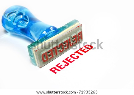 rejected letter on blue rubber stamp isolated on white background