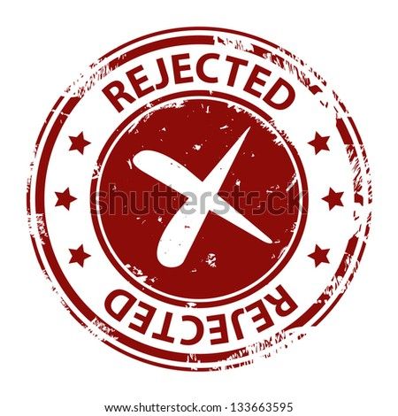 Rejected stamp or seal with cross red icon isolated on white background - stock photo