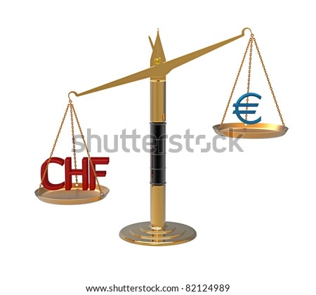Relation Euro to Swiss franc illustrated with scales 3d render - stock photo