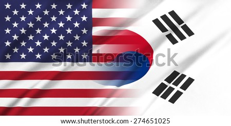 Relations between countries. USA and Korea South.  - stock photo