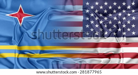 Relations between two countries. USA and Aruba - stock photo