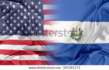 Relations between two countries. USA and El Salvador - stock photo