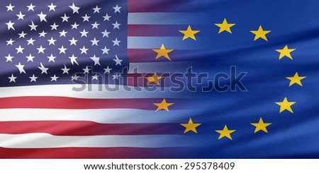 Relations between two countries. USA and European Union.