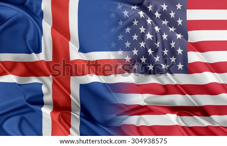 Relations between two countries. USA and Iceland - stock photo