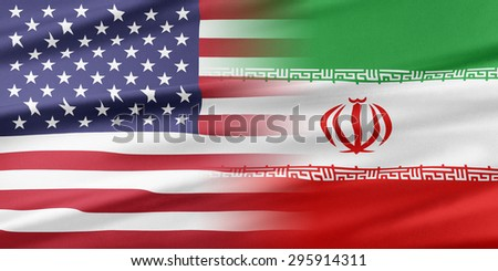 Relations between two countries. USA and Iran. - stock photo
