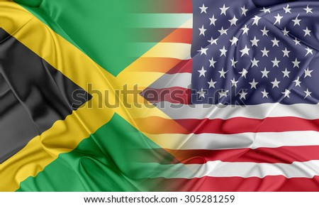 Relations between two countries. USA and Jamaica - stock photo