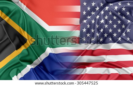 Relations between two countries. USA and South Africa - stock photo