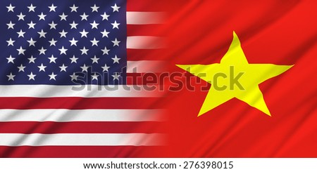 Relations between two countries. USA and Vietnam - stock photo