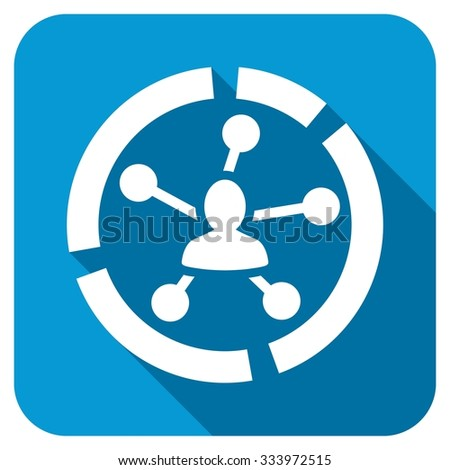 Relations diagram icon. Longshadow style is blue button with white symbol. - stock photo