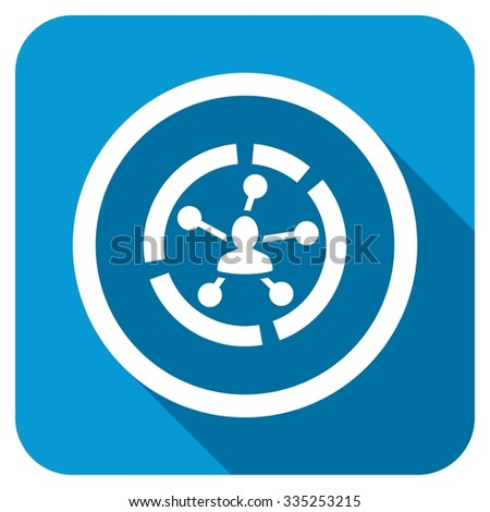 Relations diagram longshadow icon. Style is a blue rounded square button with a white rounded symbol with long shadow. - stock photo