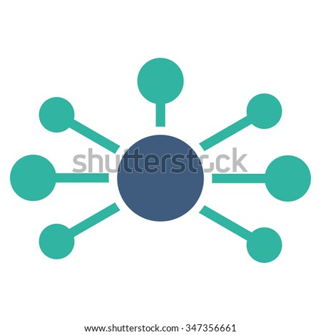 Relations glyph icon. Style is bicolor flat symbol, cobalt and cyan colors, rounded angles, white background. - stock photo