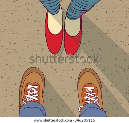 Relations young man vs woman standing. Woman and man foots on the way. Color illustration.  - stock photo