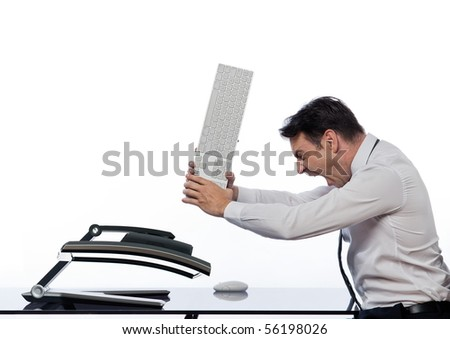 relationship between a caucasian man and a computer display monitor on isolated white background expressing breakdown anger concept