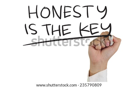 Relationship concept image of a hand holding marker and write Honesty is the Key words isolated on white - stock photo