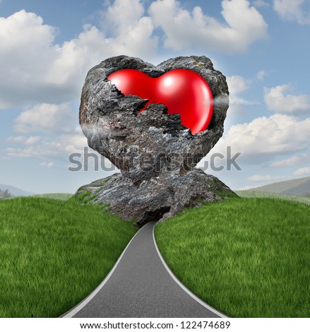 Relationship difficulties with a heart of stone breaking up to expose a red shaped love valentine symbol as a diamond in the rough representing challenges of marriage counseling and dating. - stock photo