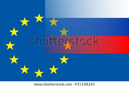 Relationship EU - Russia The Russian flag (top right) extends into the circle of stars of the European flag. - stock photo