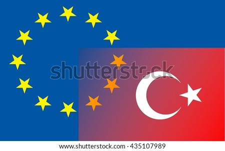 Relationship EU - Turkey The Turkish flag (bottom right) extends into the circle of stars of the European flag. - stock photo